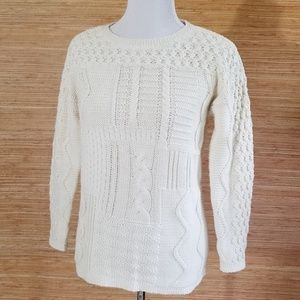 Talbots Ivory Cotton Cable Knit Pullover Sweater